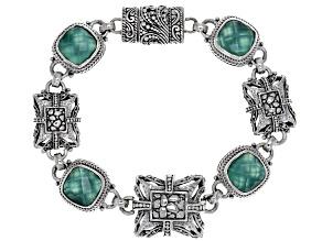 Green Onyx Doublet Silver Bracelet