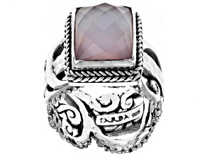 Pink Rose Quartz Doublet Silver Ring