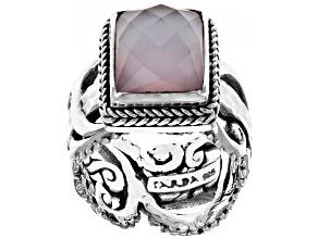 Pink Rose Quartz Doublet Silver Ring