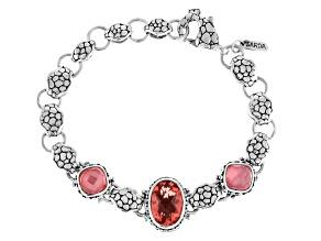 Pink Melon Quartz Triplet Silver Bracelet