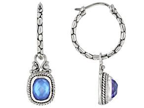 Blue Quartz Triplet Silver Earrings With Charm