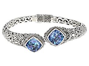 Blueicious™ Quartz Silver Hinged Bracelet 9.36ctw