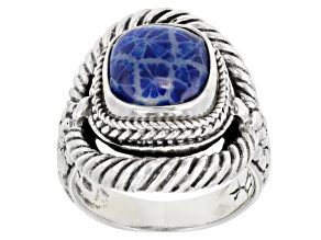 Navy Blue Indonesian Coral Silver Ring