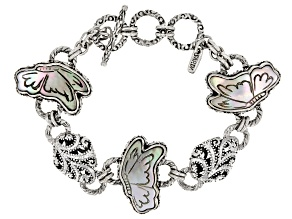 Black Mother Of Pearl Butterfly Silver Bracelet