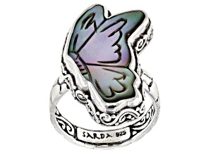 Black Mother Of Pearl Butterfly Silver Ring