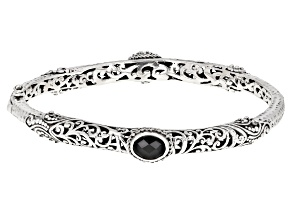Black Spinel Silver Bangle Bracelet 2.22ctw