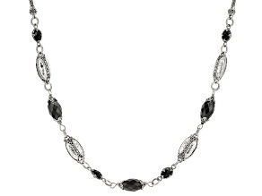 Black Spinel Silver Necklace 4.44ctw