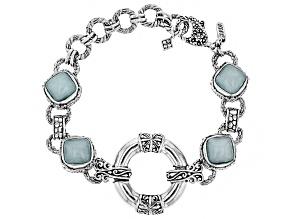 Aqua Blue Quartzite Silver Bracelet