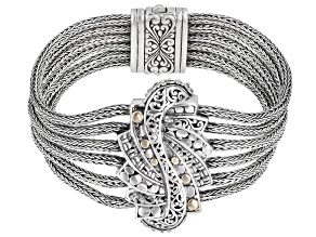"Sterling Silver With 18k Gold Accent Multi-Row ""Trilogy Step"" Bracelet"