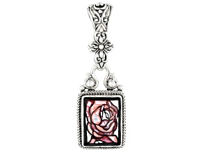 Multicolor Mosaic Mother Of Pearl Silver Pendant