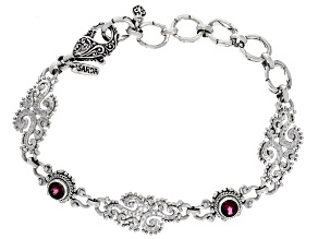 Purple Raspberry Rhodolite Garnet Silver Bracelet 1.28ctw