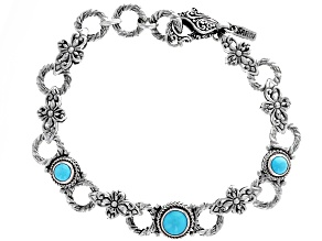 Turquoise Sleeping Beauty Silver Floral Bracelet