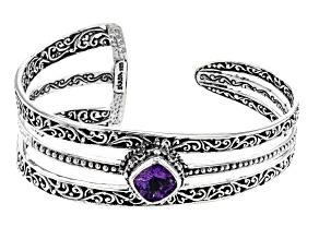 Purple Amethyst Silver Cuff Bracelet 2.98ctw