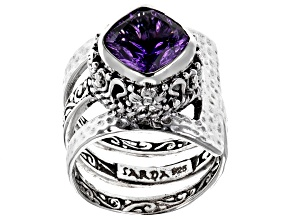 Purple Amethyst Silver Ring 2.98ctw