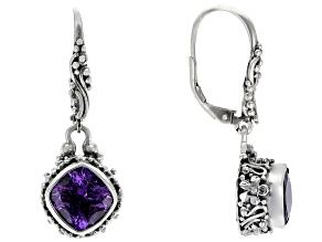 Purple Amethyst Silver Dangle Earrings 5.96ctw