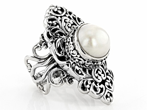 White Mabe Pearl Silver Ring