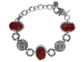 Red Indonesian Sponge Coral Silver Floral Bracelet