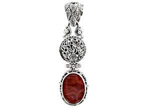 Red Indonesian Sponge Coral Silver Floral Pendant