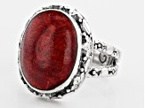 Red Indonesian Sponge Coral Silver Floral Ring