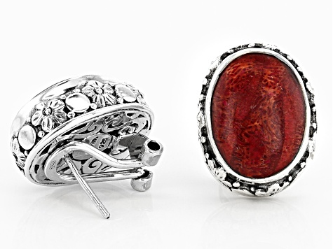 Hand cut Indonesian Coral ring One of a kind unique jewelry Original handcrafted sterling silver setting