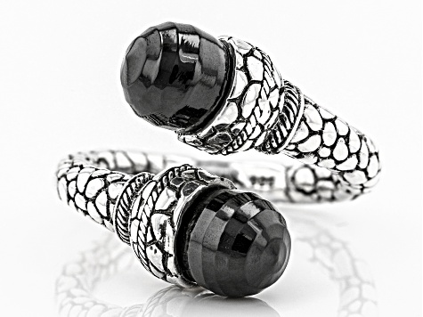Black Spinel Sterling Silver Ring 9.36ctw