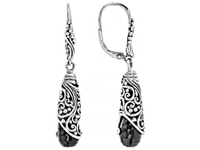 Black Spinel Sterling Silver Earrings 13.56ctw