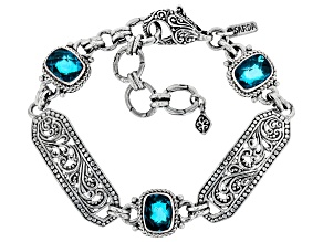 Paraiba Color Quartz Triplet Silver Bracelet