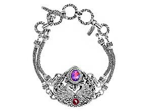 Pink Volcanic Quartz Triplet Sterling Silver Swan Bracelet 2.05ctw