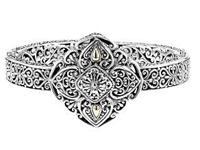 Sterling Silver And 18k Gold Accent Bangle Bracelet