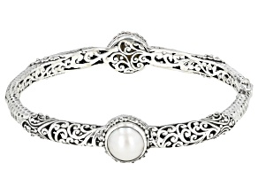 White Mabe Pearl Silver Bangle Bracelet