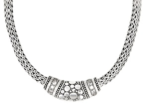 White Zircon Silver Woven Chain Necklace 0.84ctw