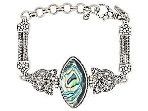Multicolor Abalone Shell Silver Bracelet