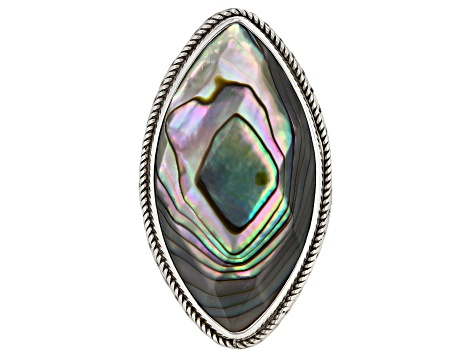 Multicolor Abalone Shell Silver Ring