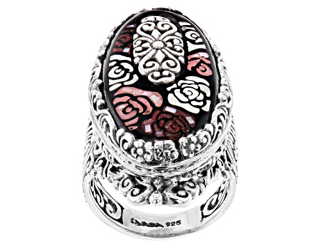 Multicolor Mother Of Pearl Silver Ring