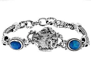 Paraiba Color Opal Silver Bracelet 3.06ctw