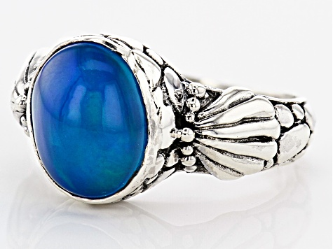 Paraiba Color Opal Silver Ring 2.04ctw