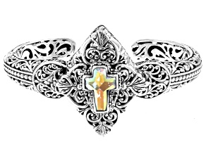 Zero Saturn™ Mystic Quartz® Silver Cross Cuff Bracelet 3.23ctw