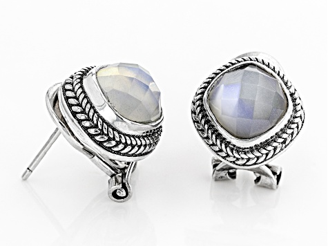 White Moonstone Silver Earrings 3.92ctw