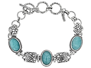 Blue Amazonite Silver Bracelet