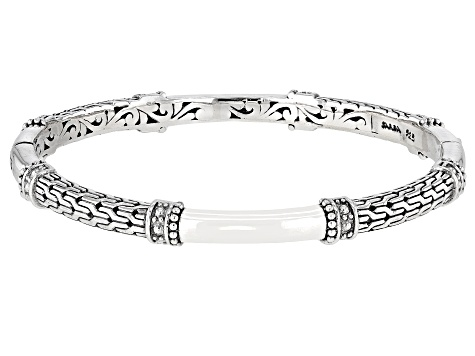Oxidized Sterling Silver Filigree Hinged Bangle