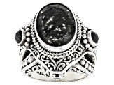 Black Rutilated Quartz Silver Ring 0.68ctw