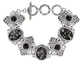 Black Tourmalinated Quartz Silver Bracelet 6.12ctw