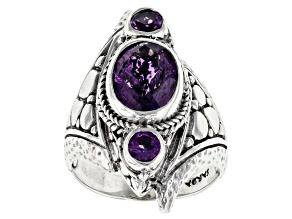 Purple Amethyst Silver Ring 2.64ctw