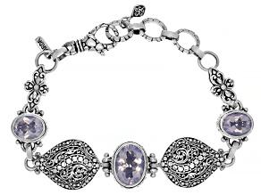 Purple Lavender Moon Quartz Silver Bracelet 8.51ctw