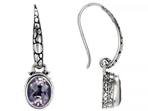 Purple Lavender Moon Quartz Silver Earrings 4.26ctw