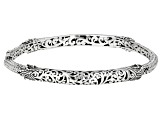 Sterling Silver Filigree Hinged Bangle Bracelet