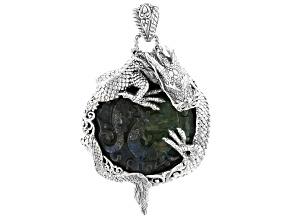 Blue Labradorite Doublet Silver Dragon Pendant
