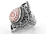 Pink Mother Of Pearl Silver Ring