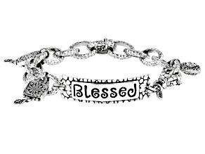 "Sterling Silver ""Blessed"" Charm Bracelet"