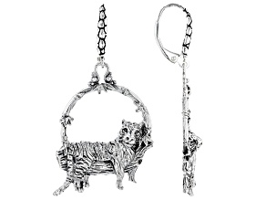 Sterling Silver Tiger Dangle Earrings